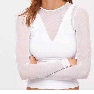 Free people intimate mesh white shirt